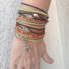 Custom Handmade Boho Wrap Bracelet made of multiple strands. Each one is different and unique. The bracelet wraps around your wrist three times and