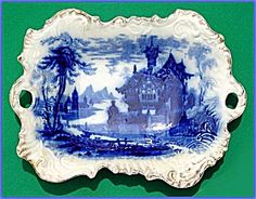 Flow Blue: SHANGHAI baroque platter (Porcelain and Pottery - Flow Blue) at Randall Antiques & Fine Art Flow Blue China, Blue And White China, Love Blue, Gravy Boats, Blue Dishes, Chinese Patterns, Willow Pattern, Vintage Plates, White Plates