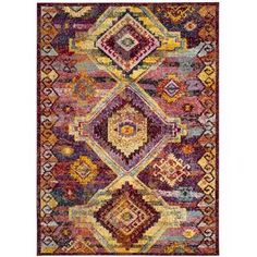 Safavieh Savannah Red and Violet x Area Rug - Red Southwestern Area Rugs, Polyester Rugs, Classic Rugs, Eclectic Style, Rugs Online, Baby Clothes Shops, Eyeshadow Makeup, Colorful Rugs, Savannah Chat