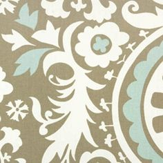 Suzani Powder Blue Contemporary by Premier Prints - Drapery Fabric - Fabric By The Yard