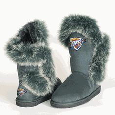 Keep your toes warm and cozy, and show your Thunder pride at the same time! Thunder Cuce Ladies' Fantastic Furry Boots - via nbathundershop.com.
