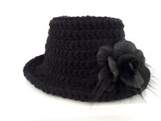 HAND KNIT Black hat with with detachable flower pin made by fur and leather. by QLeathercom on Etsy Fox Fur, Flower Making, Real Leather, Valentine Gifts, Hand Knitting, Knitted Hats, Handmade, Etsy, Black