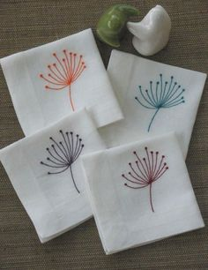 Cocktail napkin which made from off white linen fabric and embroidered with Queen Ann flowers in four different color. The napkin measures 8.5 x 8.5 with 1 hem mitered corner and if it folded by four the width is 4.25 x 4.25 This listing is for napkin in set of 8 which and you will get 2