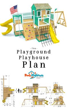 Playground Playhouse Plan - A two story playground plan with a playhouse on top as well. A total of 130 ft² of play s - Kids Backyard Playground, Backyard Playset, Playground Set, Backyard For Kids, Playset Diy, Children Playground, Playground Flooring, Playground Design, Kids Outdoor Play