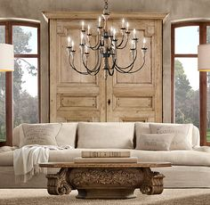 Restoration Hardware Living Room  love the chandelier and clean lines Chaos is our Home Pinterest hardware