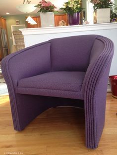 Ordinaire Contemporary Barrel Chair   Cool Lavender Random Mini Re Upholstery Project.