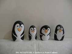 """Image - ARTISANAT D'ART: Galets peints """"Pingouin"""" - Ref N° 56 - Prix 05 Euros pièce - Blog de JPC-SCULPTURE - Skyrock.com"""