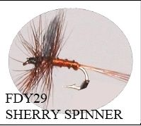 12 Pack Trout Dry Fly Sherry Spinner Size 16