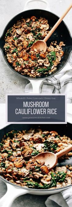 This Mushroom Cauliflower Rice Skillet is a delicious low-carb, paleo, whole30 and vegan/vegetarian main dish for dinner. And, it's done in only 20 minutes. #cauliflowerrice #whole30 #vegan #vegeterian #onepanmeal #onepan #veganmaindish #vegetarianmaindish #lowcarb #glutenfree #paleo #sidedish #mushroom #primaverakitchen