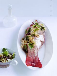 Poached coral trout with hot and sour salad