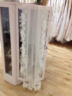 Pretty shabby chic cabinet holding a long lace edge veil Wedding Dress Trends, Designer Wedding Dresses, Bridal Dresses, Flower Girl Dresses, Prom Dresses, Wedding Outfits, Shabby Chic Cabinet, Lace Veils, Wedding Dress Shopping