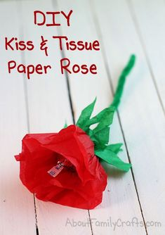 DIY Candy Kiss and Tissue Paper Roses - Discover how easy it is to turn a few squares of tissue paper into a candy filled rose bud. (http://aboutfamilycrafts.com/diy-candy-kiss-and-tissue-paper-roses/)