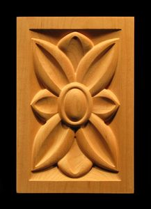 Corner block featuring a transitional or contemporary floral pattern wood corner block. Shown in rectangular form but can be. Wood Carving Patterns, Wood Carving Art, Wood Carvings, Wall Folding Bed, Rustic Wood Furniture, Transitional Style, Wood Sculpture, Rosettes, Projects To Try
