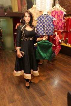 Hazel Keech wearing a beautiful black koti with a minimal black anarkali