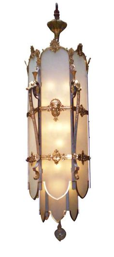 Large Art Deco theater hanging light chandelier