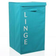 Disponible sur Boutiquedubain.com ! Panier à Linge Ecriture Turquoise