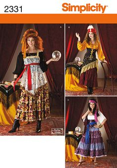 2331Misses' Costumes Misses' gypsy and fortuneteller costumes