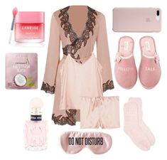 """Good Night"" by rennyliayustika on Polyvore featuring Agent Provocateur, Equipment, BaubleBar, Kate Spade, New Directions, Miu Miu, too cool for school, Laneige and LovelyLoungewear"