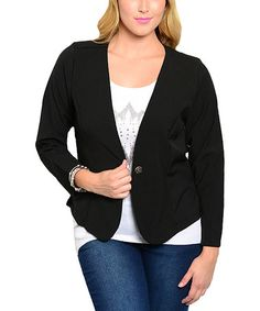 Love this Black Sheer Back Blazer - Plus on #zulily! #zulilyfinds