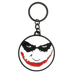 DC Comics The Dark Knight Trilogy The Joker Face Key Chain Hot Topic ($15) ❤ liked on Polyvore featuring accessories, fob key chain and long key chain
