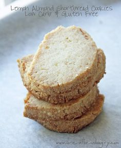 Low Carb and Gluten Free Lemon Almond Shortbread Cookies! Only 4 ingredients and 1.6g net carbs each! Can also be used as a low carb tart or pie crust!