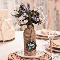 Jute-Wrapped Bottle Centerpiece Idea - OrientalTrading.com