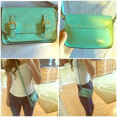 Kate spade cross body bag Bird blue (gorgeous blueish green color). Cross body little bag. Small enough to not be a pain but big enough to carry the essentials. Good pre owned condition kate spade Bags Crossbody Bags