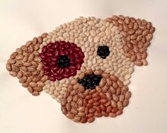 Bean Mosaic Puppy complete with instructions and pattern. More fun crafts at… Mosaic Crafts, Mosaic Art, Mosaics For Kids, Seed Craft, Puppy Crafts, Hobbies For Girls, Crafts For Kids, Arts And Crafts, Camping Crafts