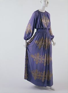 1939 Dinner dress of silk and spangles, by Jeanne Lanvin.