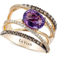 Le Vian Amethyst (1-3/8 ct. t.w.)and Diamond (3/4 ct. t.w.) Crossover... ($2,026) ❤ liked on Polyvore