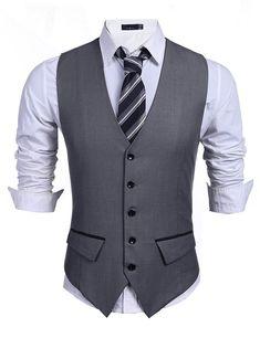 6d7850b89f3 Coofandy Mens Casual Slim Fit Skinny Wedding Dress Vest W.