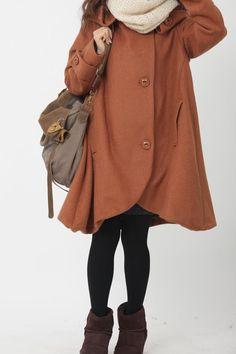 Orange cloak wool coat Hooded Cape women Winter wool by MaLieb, $139.00