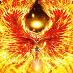Dedicating this to Kusuri-Shibata based on meme by KeybladeMagicDan; What if Phoenix Ikki gained Phoenix Force? Ikki was possessed by the Phoenix Force Phoenix Artwork, Phoenix Images, Phoenix Bird, Dark Phoenix, Magical Creatures, Fantasy Creatures, Itachi Mangekyou Sharingan, Phoenix Force, Angel Warrior