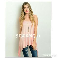 🆕✨HP✨ PEACH ASYMMETRICAL FRINGED TOP 🌹 SUPER CUTE PEACH ASYMMETRICAL SHARK BITE  FRINGED  TOP. THESE HANG A BIT MORE LOOSE, LIGHT WEIGHT PERFECT W/ JEANS, A CARDI &  SOME ACCESSORIES & A PAIR OF SKINNIES & CHUCK HEELS OR A MORE RELAXED STYLE OR EVEN A SLIP DRESS.  GREAT LAYERING PIECE.MADE IN THE USA MATERIAL CONTENT : 96%RAYON / 4%SPANDEX.  THESE ARE PRETTY STRETCHY,  YET DRAPE THE BODICE  JUST PERFECT  (SEE COMMENT BELOW )⤵❤ @bayleigh30✔(BUNDLE 3 ITEMS GET 25% % OFF ) ✔ BOTIQUE  Tops…