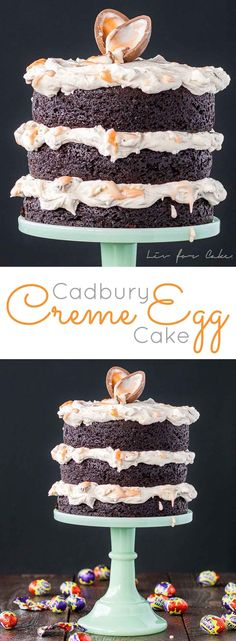 A rich chocolate cake with a delicious Cadbury Creme Egg frosting. The perfect treat for Easter!   livforcake.com