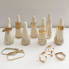 21 Clever Ways to Organize Your Jewelry - Hand painted terracotta cone ring –. - 21 Clever Ways to Organize Your Jewelry – Hand painted terracotta cone ring – Single – - Clay Crafts For Kids, Crafts For Teens To Make, Crafts To Sell, Polymer Clay Crafts, Diy Clay, Polymer Clay Ring, Ceramic Jewelry, Clay Jewelry, Jewelry Crafts