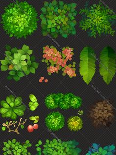 Game art material / Q version of the hand-painted map collection ... plant trees…