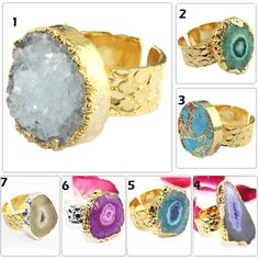 Multi-Color Geode Slice Druzy Antique Oxidized Copper Plated Bracelets Connector