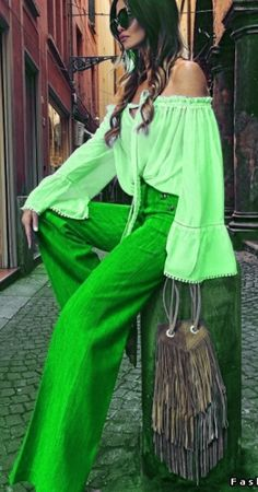 Green - Instagram photo by @realfashionist Love Fashion, Runway Fashion, Womens Fashion, Green Fashion, Hippie Style, My Style, Workwear Fashion, Green Pants, Shades Of Green