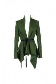 Anomalous Lower Hem Green Blazer    $75.99  romwe.com #Romwe