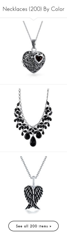 """""""Necklaces (200) By Color"""" by stormwlf ❤ liked on Polyvore featuring jewelry, necklaces, necklace, accessories, special occasion jewelry, heart locket, pendant necklaces, silver heart necklace, garnet necklace and locket necklace"""