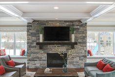 Fireplace Stone. Fireplace stone is Boral Echo Ridge Country Ledgestone. #Fireplace #FireplaceStone #LedgestoneFireplace