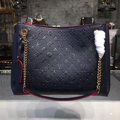 Louis Vuitton Monogram Empreinte Surene MM Marine Rouge - Another! Handbags On Sale, Fashion Handbags, Purses And Handbags, Fashion Bags, Fashion Purses, Louis Vuitton Totes, Louis Vuitton Handbags, Louis Vuitton Monogram, Luxury Purses