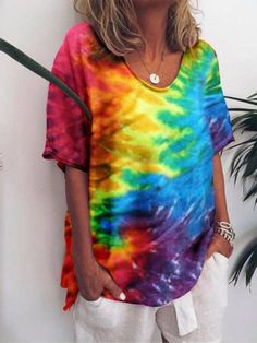 Tie And Dye, Tie Dye Shorts, Casual T Shirts, Latest Fashion For Women, Blouses For Women, V Neck T Shirt, Lady, Sleeves, Clothes