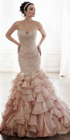 100 Most-Pinnned Mermaid Wedding Dresses | Blush wedding dresses ...