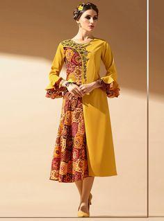 Mustard Faux Georgette Designer Readymade Kurti 96399