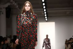 Libertine Fall 2012 long sleeve black turtleneck dress with red roses