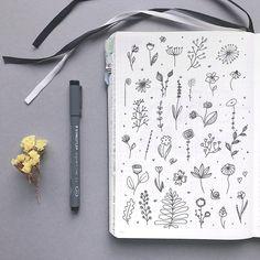 Bullet journal drawing ideas, botanical doodles, flower doodles, snail doodle, plant doodle. | @bujoist