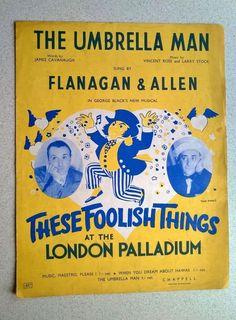 The Umbrella Man sung by Flanagan & Allen Vintage Sheet Music, Vintage Sheets, Umbrella Man, Ukulele, Music Songs, Singing, Ebay