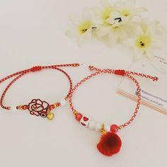 """Μαρτακια ♥️ με τριαντάφυλλακι και πομπομ . #μαρτης2020 #handmade #fashionaccessories #bracelets…"""" Sophie's World, Beaded Necklace, Handmade, Jewelry, Beaded Collar, Hand Made, Jewlery, Bijoux, Schmuck"""